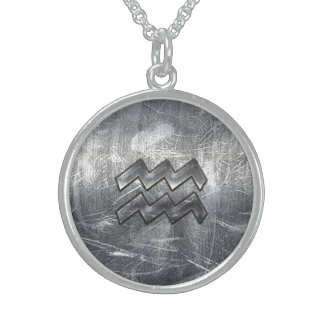Aquarius Zodiac Symbol Distressed Silver Steel Sterling Silver Necklace