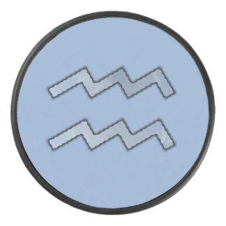 Aquarius Zodiac Symbol Element by Kenneth Yoncich Hockey Puck