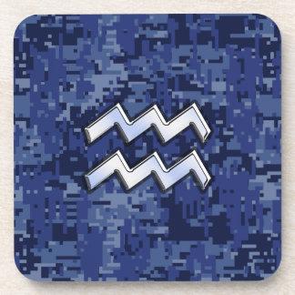 Aquarius Zodiac Symbol on blue digital camo decor Drink Coaster