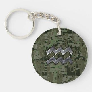 Aquarius Zodiac Symbol on Green Digital Camouflage Keychain
