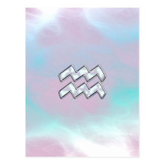 Aquarius Zodiac Symbol on Mother of Pearl Nacre Postcard