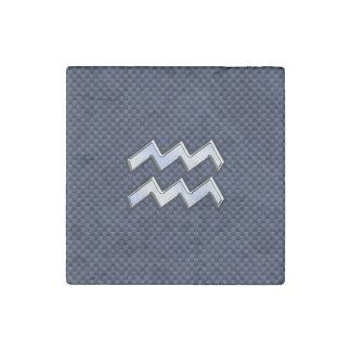 Aquarius Zodiac Symbol on Navy Blue Carbon Fiber Stone Magnet