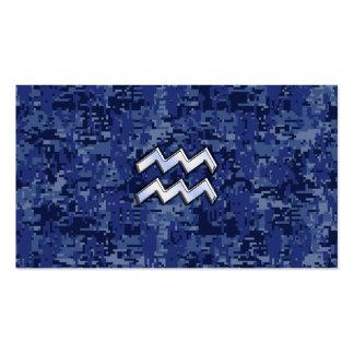Aquarius Zodiac Symbol on navy blue digital camo Business Card