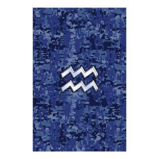 Aquarius Zodiac Symbol on navy blue digital camo Flyer