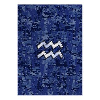 Aquarius Zodiac Symbol on navy blue digital camo Large Business Card