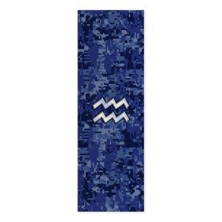 Aquarius Zodiac Symbol on navy blue digital camo Mini Business Card