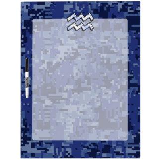Aquarius Zodiac Symbol on Navy Digital Camouflage Dry-Erase Board