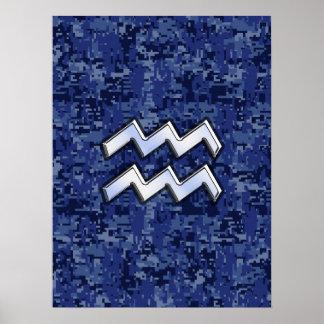 Aquarius Zodiac Symbol on Navy Digital Camouflage Poster