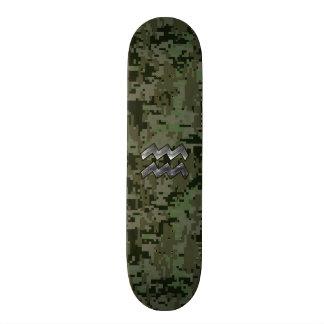 Aquarius Zodiac Symbol on olive green digital camo Skateboard