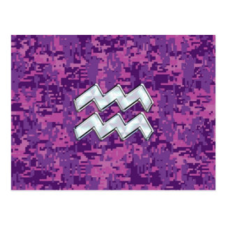 Aquarius Zodiac Symbol on Pink Digital Camouflage Postcard