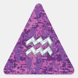 Aquarius Zodiac Symbol on Pink Digital Camouflage Triangle Sticker