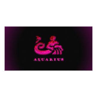 Aquarius Zodiac Symbol Photo Card