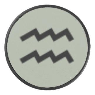 Aquarius Zodiac Symbol Standard by Kenneth Yoncich Hockey Puck