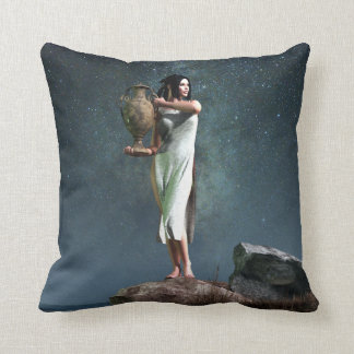 Aquarius Zodiac Symbol Throw Pillow