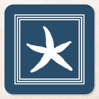 Aquatic design square paper coaster