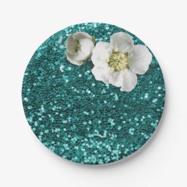 Beach Themed Aquatic Emerald Floral White Jasmine Glitter Paper Plate