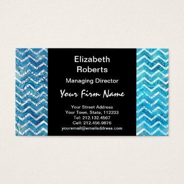 Beach Themed Aquatic Fantasy Blue and Aqua Chevron ZigZags Business Card