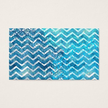 Beach Themed Aquatic Fantasy Blue and Aqua Chevron ZigZags Business Card