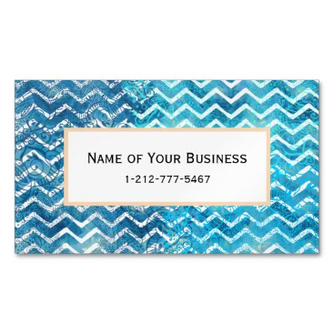 Beach Themed Aquatic Fantasy Blue and Aqua Chevron ZigZags Business Card Magnet