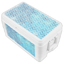 Aquatic Fantasy Blue and Aqua Chevron ZigZags Cooler