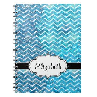 Aquatic Fantasy Blue and Aqua Chevron ZigZags Note Books