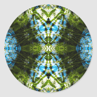 Aquatic Lace - Blue and Green Classic Round Sticker
