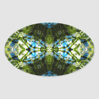 Aquatic Lace - Blue and Green Oval Sticker