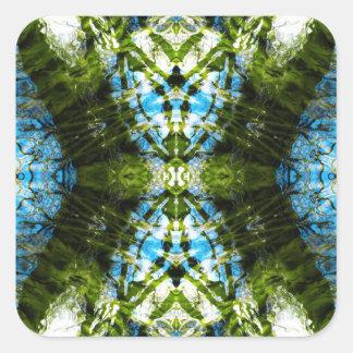 Aquatic Lace - Blue and Green Square Sticker