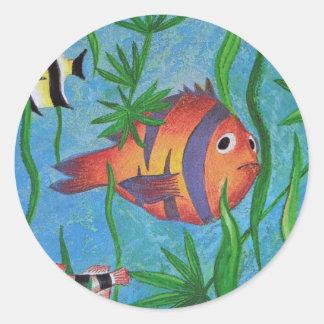 aquatic life classic round sticker