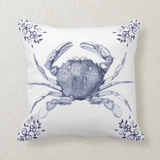 Aquatic Life Delftware ~ Common Crab Cushions Throw Pillow