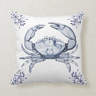 Aquatic Life Delftware ~ Stone Crab Cushions Throw Pillow