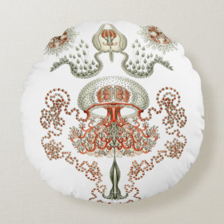 Aquatic Life ~ Haeckel ~ Jellyfish Cushions Round Pillow