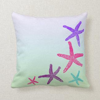 Aquatic Life Starfish In Pastel Colors Pattern Throw Pillow