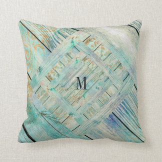 Aquatic Mint Shabby Rustic Monogram Pillow