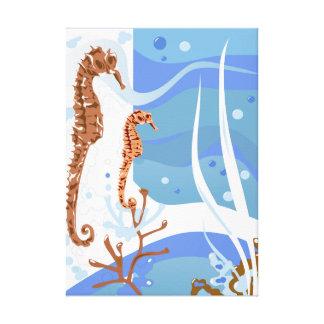 Aquatic Seahorse Wrapped Canvas