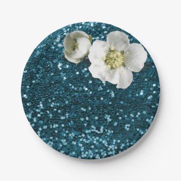 Beach Themed Aquatic Tiffany Blue White Jasmine Glitter Paper Plate