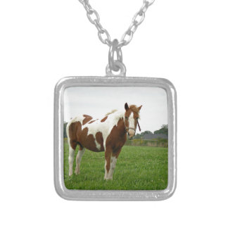 Aquebogue Painted Horse Silver Plated Necklace