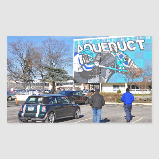 Aqueduct Racetrack on New Year's Day Rectangular Sticker