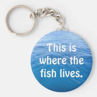 Aquí es donde vive el pescado llavero redondo tipo pin