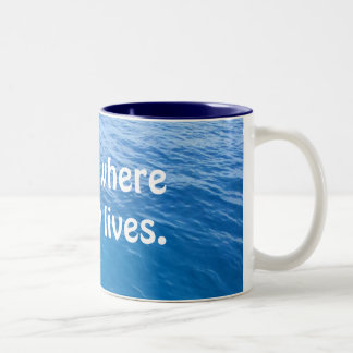 Aquí es donde vive el pescado tazas de café
