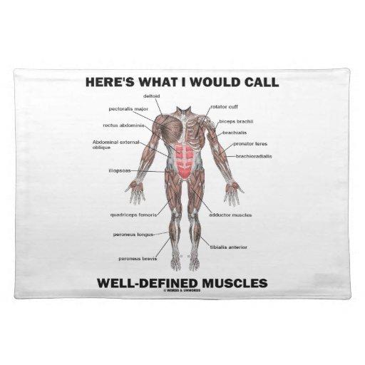 Aquí es lo que llamaría los músculos bien definido manteles individuales