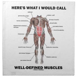 Aquí es lo que llamaría los músculos bien definido servilletas