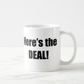 Aquí está el trato tazas de café