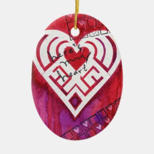 Aquí está mi tarjeta del día de San Valentín de Adorno Navideño Ovalado De Cerámica