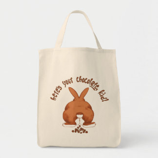 Aquí está su chocolate del conejito de pascua bolsa tela para la compra