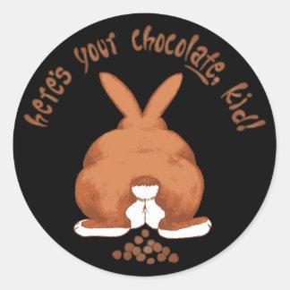 Aquí está su pegatina del chocolate