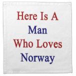 Aquí está un hombre que ama Noruega Servilletas