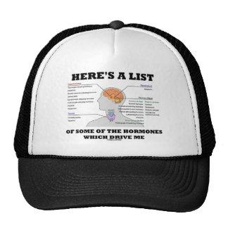 Aquí está una lista de algunas de las hormonas (la gorro de camionero