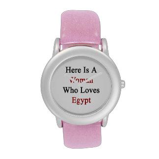 Aquí está una mujer que ama Egipto Relojes De Mano