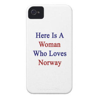 Aquí está una mujer que ama Noruega Case-Mate iPhone 4 Cárcasa